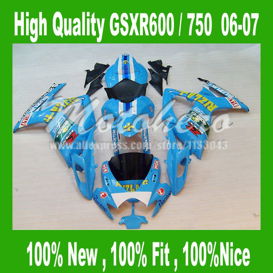 Fairing for SUZUK <font><b>GSXR</b></font> <font><b>600</b></font> 750 06-07 GSX R600 R750 GSXR600 GSXR750 R <font><b>600</b></font> K6 06 07 2006 2007 <font><b>Light</b></font> Blue s325D image