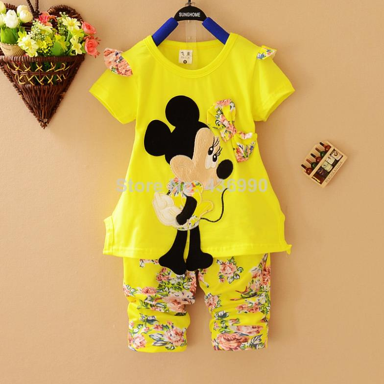 8c065ed45 Summer 2014 Cartoon Minnie Mickey mouse clothes suits Baby Girls shirt +small  calico short pants Cute Kids tracksuits-in Clothing Sets from Mother & Kids  on ...