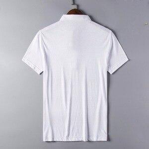 Image 2 - 2020 جديد وصول ماركة الملابس قميص بولو رجل القطن قصير الأكمام منقوشة تنفس الأعمال عادية أوم camisa حجم كبير XXXL