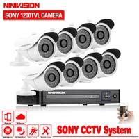 NINIVISION CCTV Security DVR NVR HVR 960H 1080p 8CH DVR Kit 1200TVL White Bullet In/Outdoor CCTV Camera DVR System for IP Camera