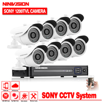 Security DVR NVR HVR 960H 8CH DVR Kit 1 3 Sony 1200TVL Dome Indoor Outdoor CCTV