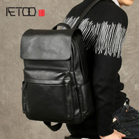 AETOO Leather Men S Shoulder Bag First Layer Of Leather Korean Casual College Bag Black Fashion