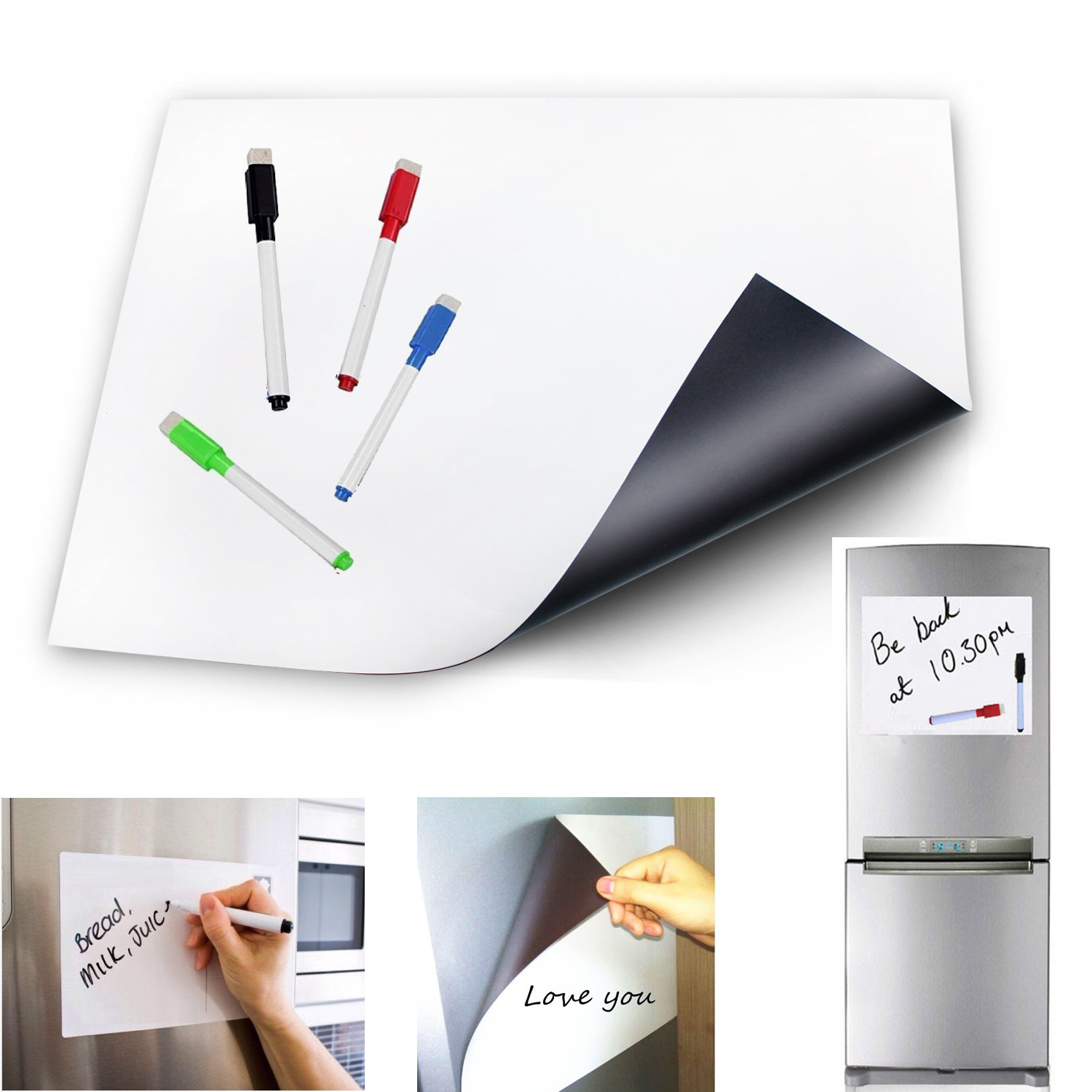 Magnet Whiteboard A4 Soft Magnetic Board Dry wipe Drawing Recording Board for Fridge Magnets Refrigerator Sticker Kitchen Decor-in Fridge Magnets from Home & Garden