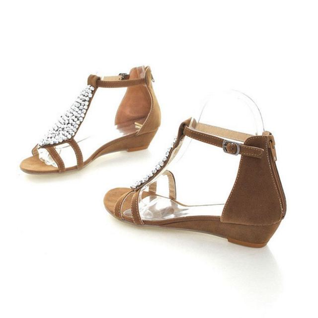 Size 31-45 Flat Sandals Ankle T-Strap Fashion Trend Sandals Bohemia National Flat Beach Beaded Female Sandalias Shoes PA00531