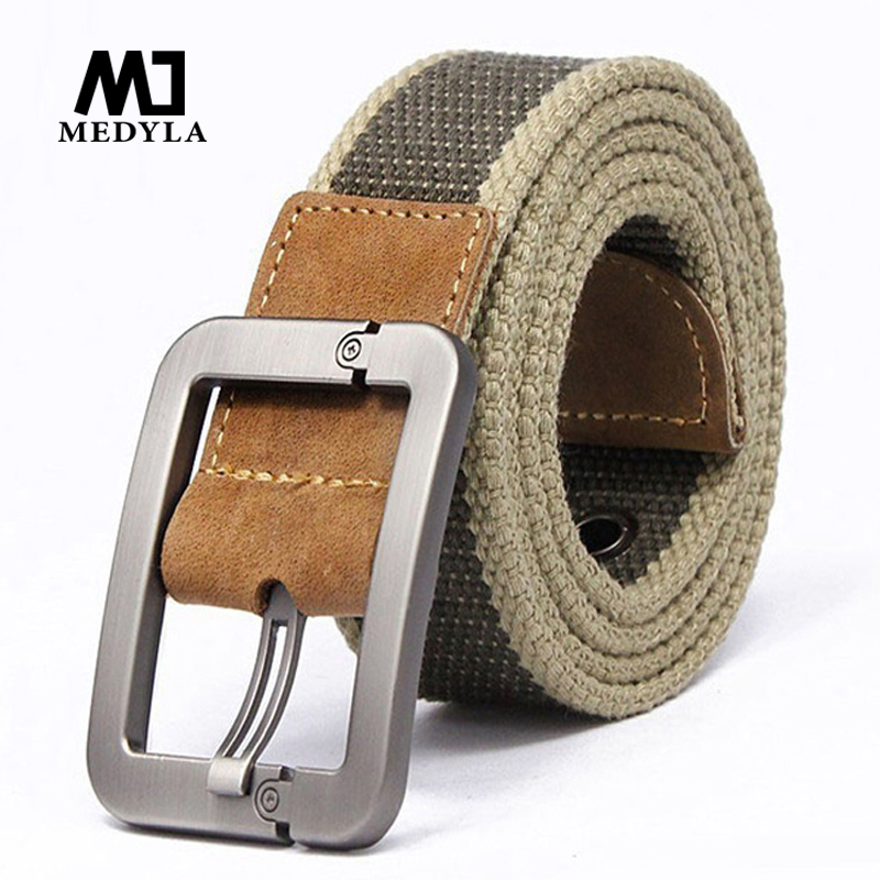 HOT 2015 wholesale Real Solid brand Belt for Men Cinto men's Fashion Pin Buckle Canvas cowboy knitted Strap Casual  Striped belt