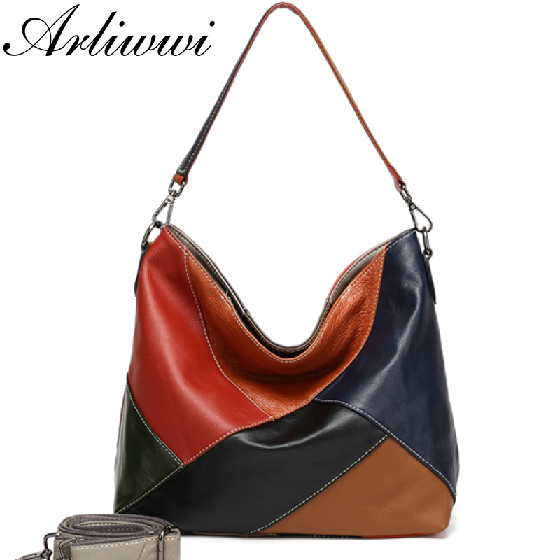 Arliwwi 100% Real Cow Leather Designer Women Shoulder Handbag Extra Soft Cowhide Genuine Leather Bags