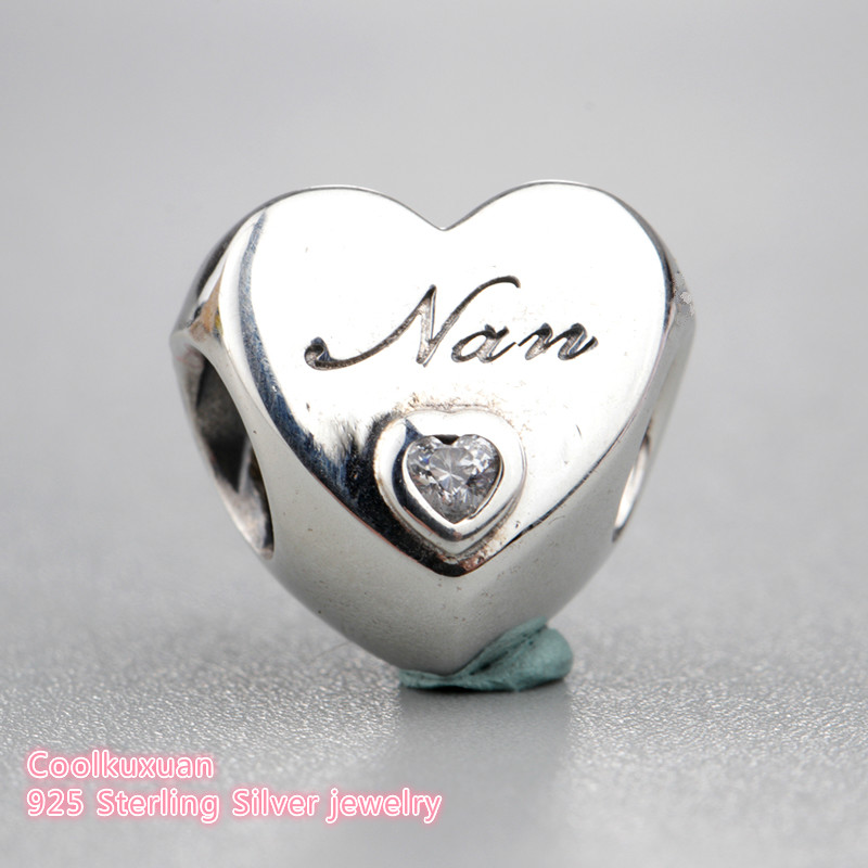 95bc0626e 2018 new Spring 925 Sterling Silver Nan heart Charm white cz Charm Beads  Fit Original Pandora Charms Bracelet DIY jewelry-in Beads from Jewelry ...