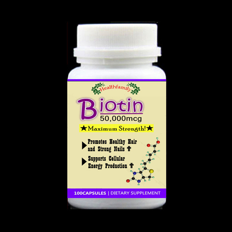 Biotin Maximum Strength 50000 mcg vitamin B7 vitamin H Support for Hair Nails & Cellular Production,biotine,100pcs/bottle