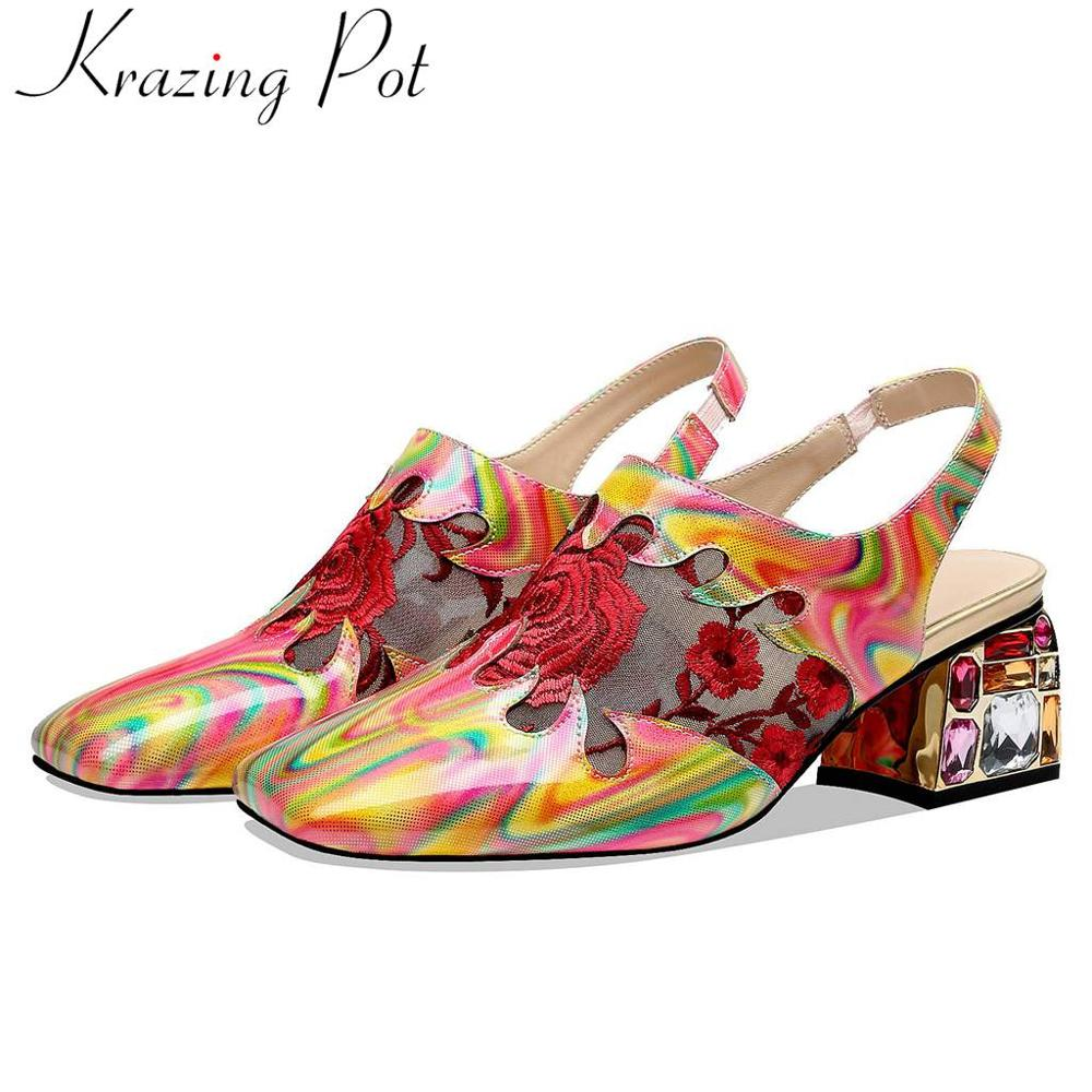 Large size mixed colors natural leather flower embroidery slip on women pumps colorful crystals decoration slingback