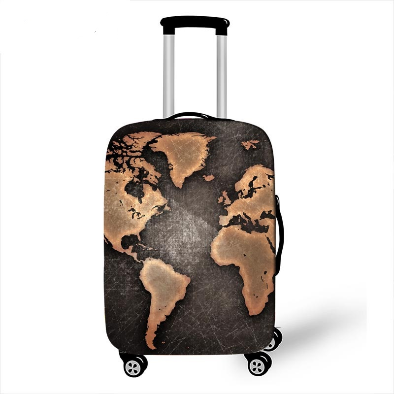 18-32 Inch Suitcase Protective Cover World Map Luggage Cover Travel Accessories Trolley Case Elastic Anti-dust Protective Cover