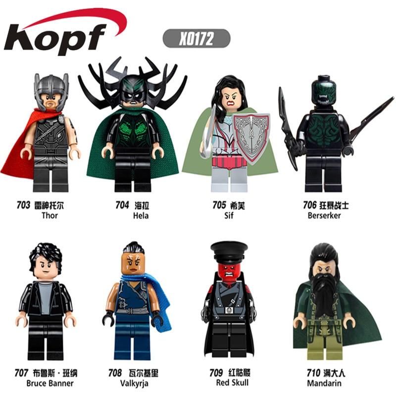 Single Sale Super Heroes Thor Berserker Bruce Banner Valkyrja Sif Mandarin Hela Bricks Building Blocks Children Gift Toys X0172