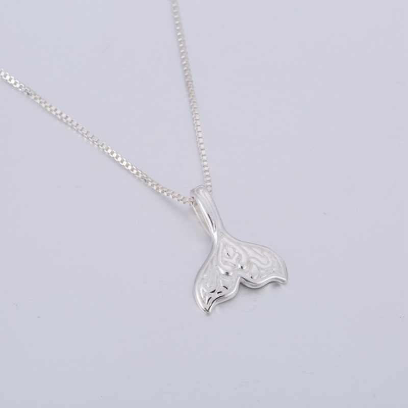 Oly2u Whale Tail Fish Charm Women  Necklace Mermaid Tail Silver Necklace 2017  SYXL047