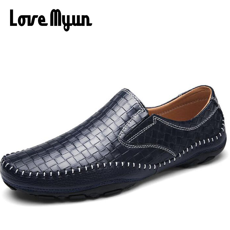 Brand High Quality Men Driving Shoes Summer Causal Shoes Men Weave Loafers Leather Moccasins Handmade Flats KK-21