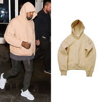 Mens Hip Hop Hoodies Plus Velvet Fleece High Street Winter Warm Kanye West Loose Hooded Sweatshirt Solid Color Pullovers
