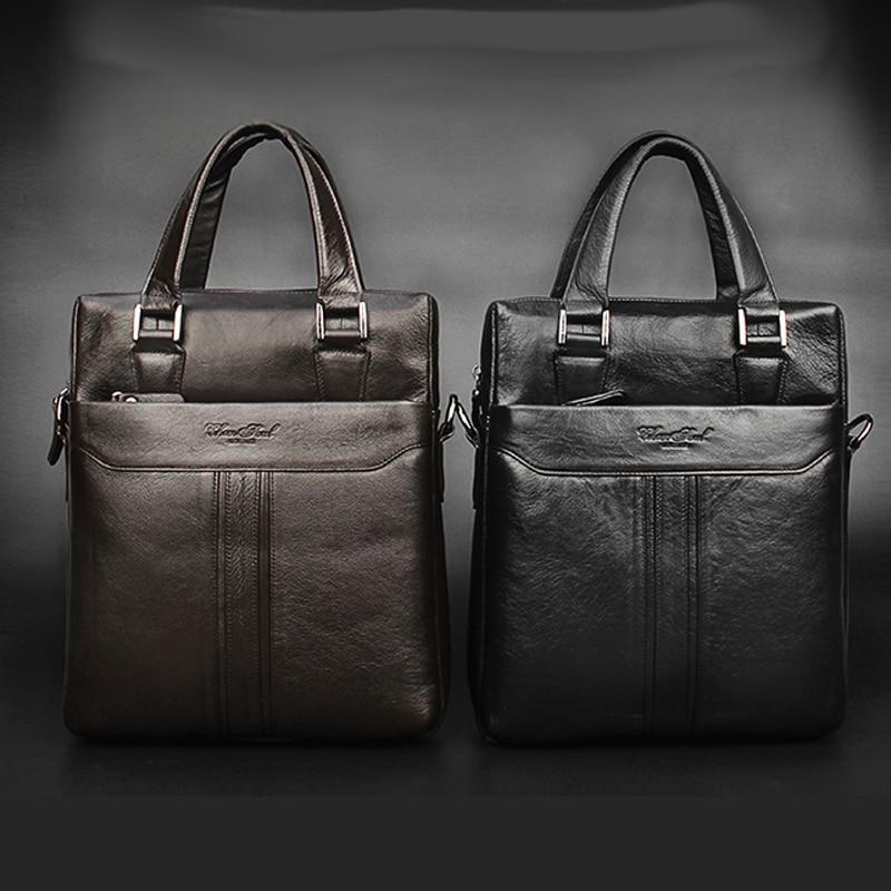 CHEER SOUL Genuine Leather Briefcase Business Handbag Men Office Laptop Bag Messenger Bags For Men Tote Purse Male Shoulder Bags