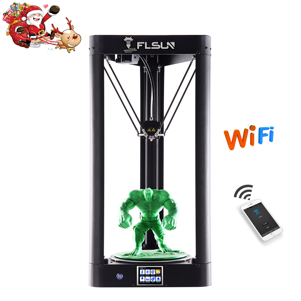 New 2019 FLSUN QQ S 3D Printer Lattice Glass Bed Pre assembly Delta 3D printer Large Size 32bit board Touch Screen WIFI Resume