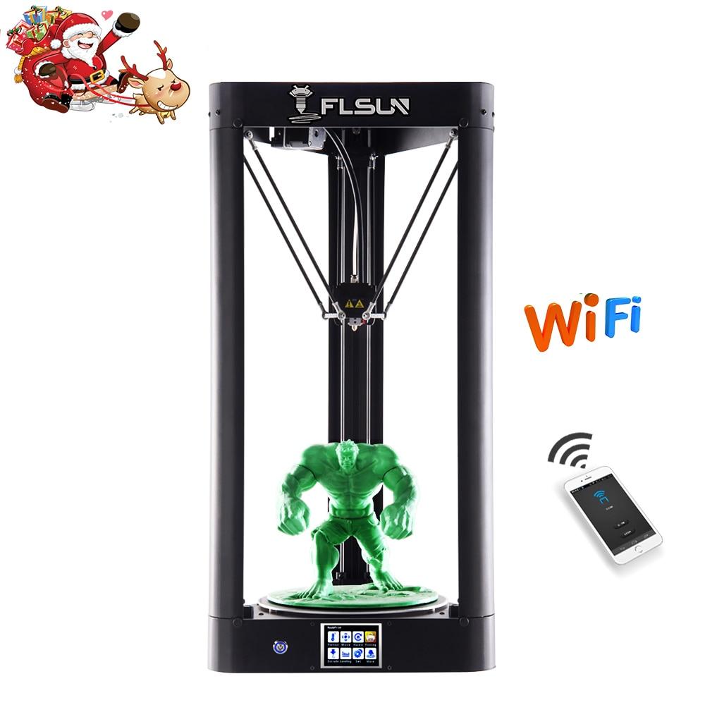 Nouveau 2019 FLSUN QQ-S 3D Imprimante De Verre Réseau Lit Pré-assemblée Delta 3D imprimante Grand Taille 32bit conseil Tactile écran WIFI Reprendre