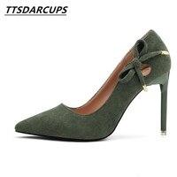 TTSDARCUPS נעלי העקב גבוה של קוריאני סגנון סקסי לילה חנות משאבה נשית קנס עניבת פרפר נשים דקים פה רדוד נעלי
