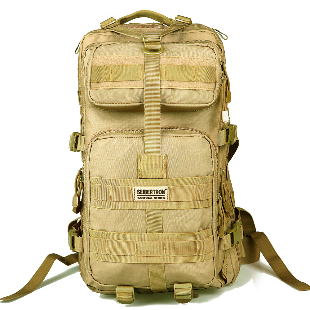 Seibertron outdoor Tactical Backpack 3P MOLLE Bag Hiking Camping EDC Backpack Compact Pack Summit Bag 30L