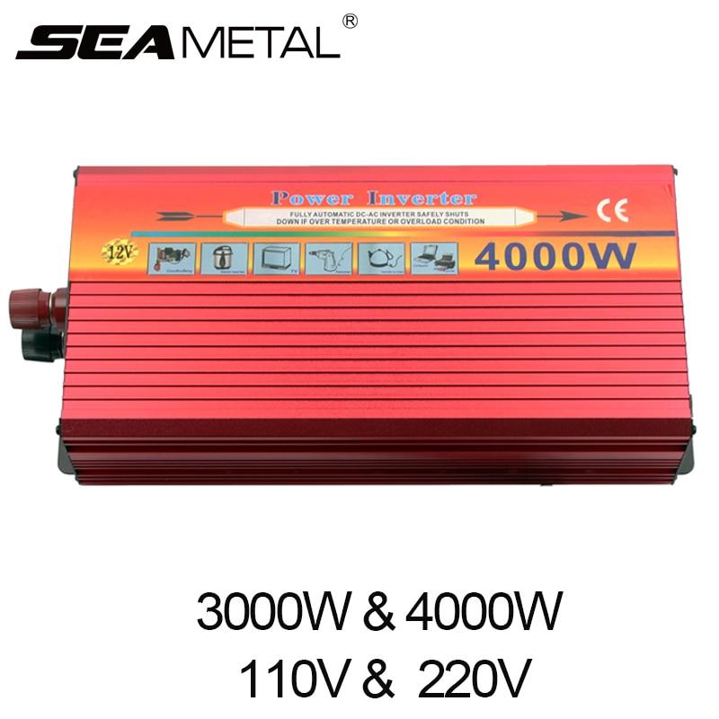 Автомобильный инвертор 3000 Вт 4000 Вт чистый DC 12 В к AC 220 В 110 В автомобилей зарядное устройство usb 12 220 В трансформатор напряжения Конвертер Путе...