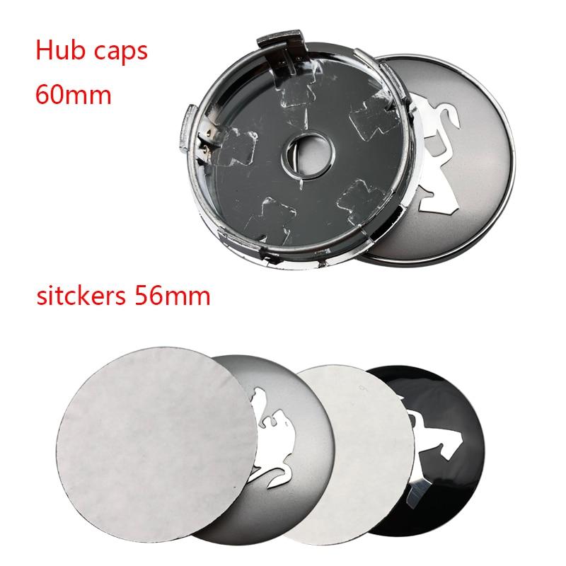 4 Stuks 60mm Auto Logo Wiel Center Hub Cap Velg Badge Stofdicht Covers Creatieve Decoratie Embleem Voor Peugeot 206 207 307 308 301