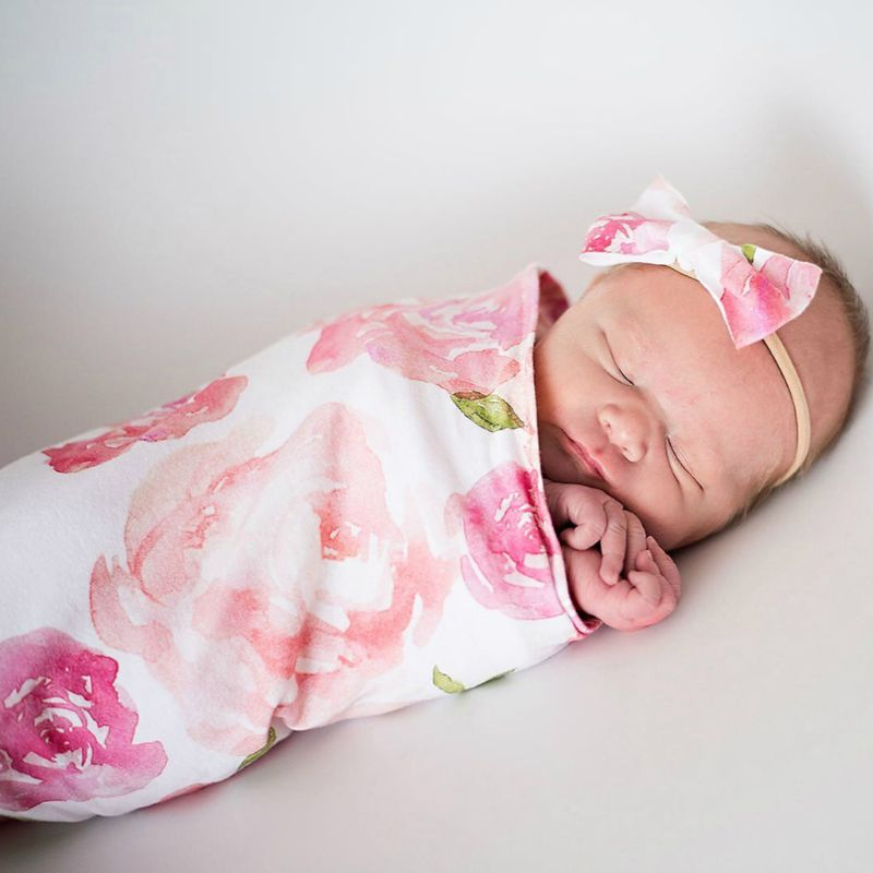 Headband Photo Prop Baby Newborn Blankets Printed Sleeping Swaddle Muslin Wrap
