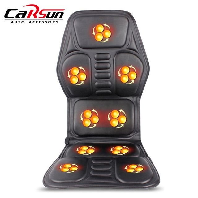 2018 New Heated Back Massage Seat Topper Car Home Office Massager Heat Vibrate Cushion