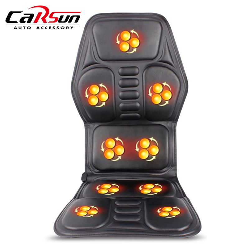 2018 New Heated Back Massage Seat Topper Car Home Office Seat Massager Heat Vibrate Cushion Back Neck Massage Chair Massage