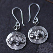 JINSE  Original India Thailand Ancient 925 Sterling Silver Earring Round Elephant Handmade Hippie Animal Tribe Jewelry