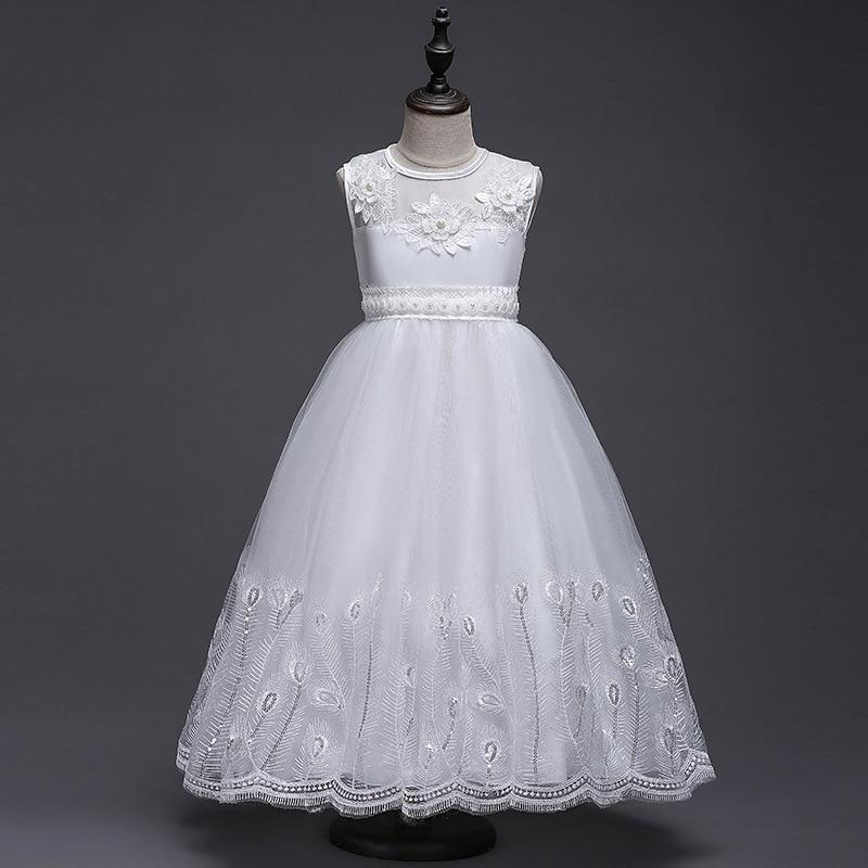 Flower Girl Dresses Party Dinner Hosting Dress White Wedding Dresses Children Girls Summer dresses princess 3-12yrs Kid costume