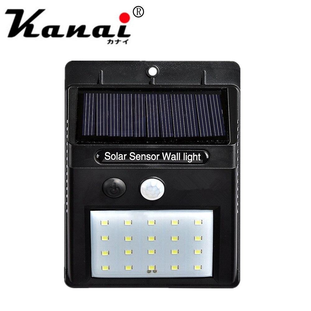 pcs 2835 20 4 leds de energia solar sensor de movimento pir luz de parede ao