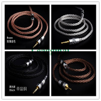 diy earphone wire single crystal copper silver plated cable ie80 mmcx 0.78mm A2DC 3.5mm/2.5mm/4.4mm plug