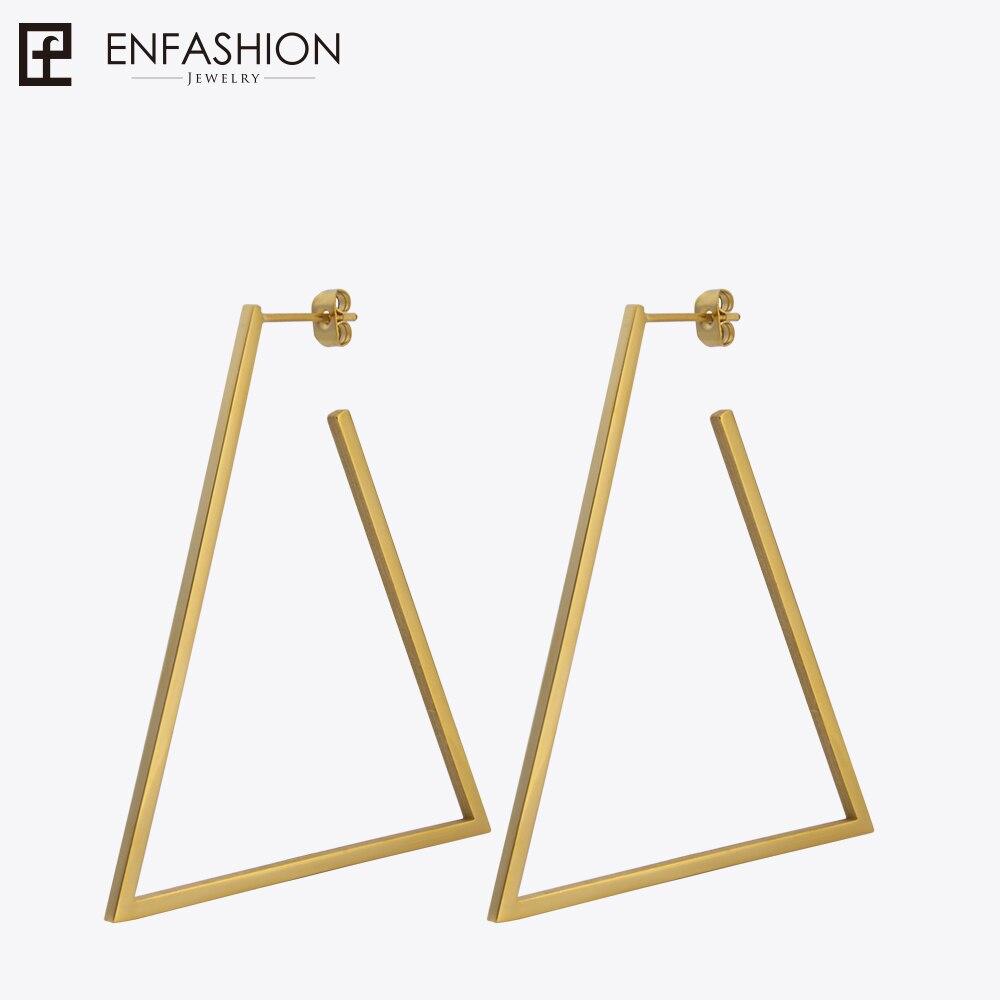 Enfashion Jewelry Geometric Big Triangle Earrings Gold color Stainless steel Long Drop Earrings For Women Earings EB171033 enfashion wholesale geometric triangle ear jacket earrings stud earring gold color earings stainless steel earrings for women