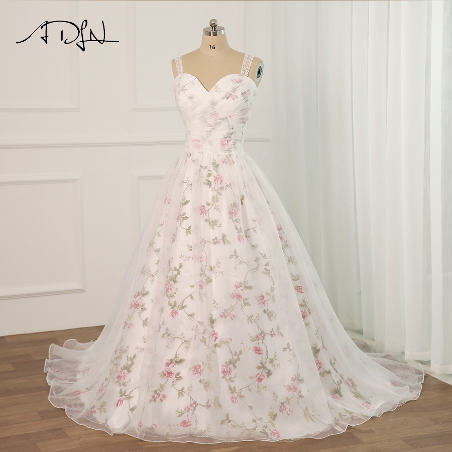 ADLN 2019 Floral Print Wedding Dress Plus Size Sleeveless Sweetheart Pleats Flower Wedding Dresses With Beaded Strap