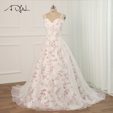 ADLN Floral Print Wedding Dress Plus Size Sleeveless Sweetheart Pleats Beading Sequins Robe Mariee Flower Wedding Dresses plus size flower sleeveless dress