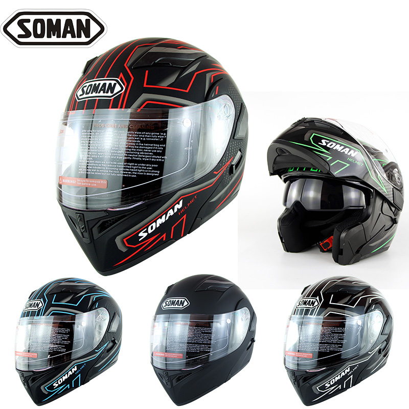 Soman 955 Double Lentille Moto Casques Modèle K5 Flip up Moto Capacetes Casco Approbation DOT