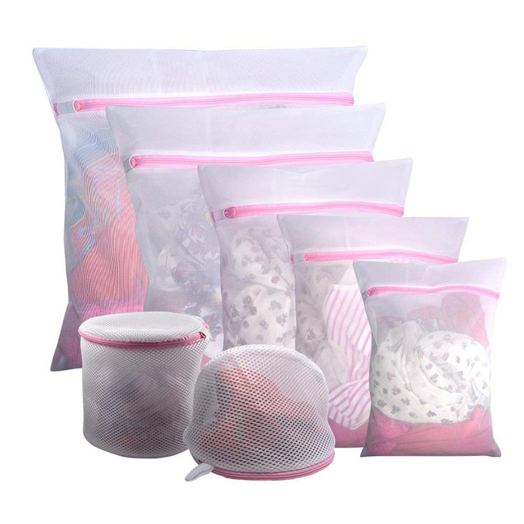 Clothes Mesh Laundry Bag Underwear Washing Protective Square, Cylindrical Home Zipper Organizer Bags Pink