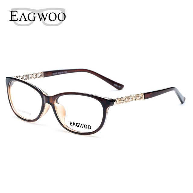 Acetato de Óculos de Aro Cheio de Prescrição Frame Ótico TR90 Mulheres Feminino Espetáculo de Luz Clara Vidros do Olho 22050 Marinha Marrom