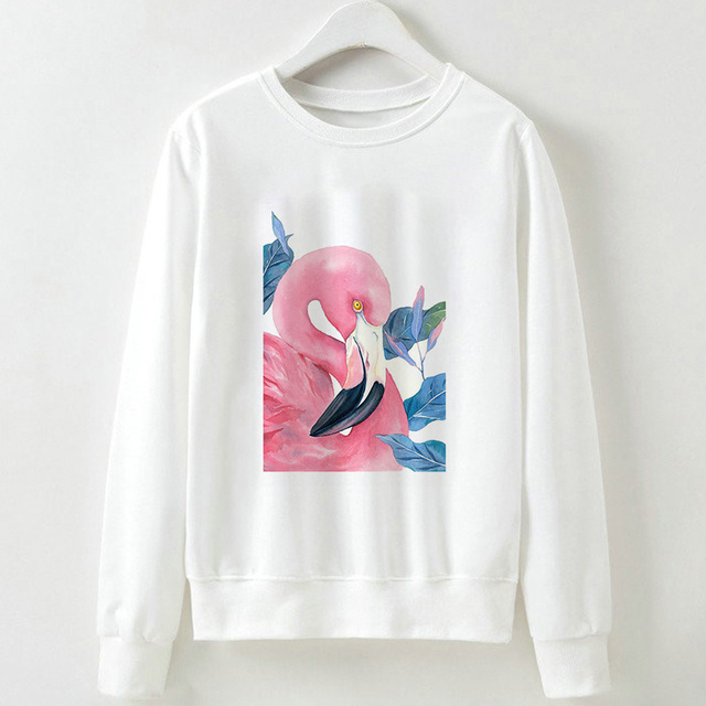 Casual Women Flamingo Long Sleeve Hoodieer Pullover Loose Sweatshirt Tops