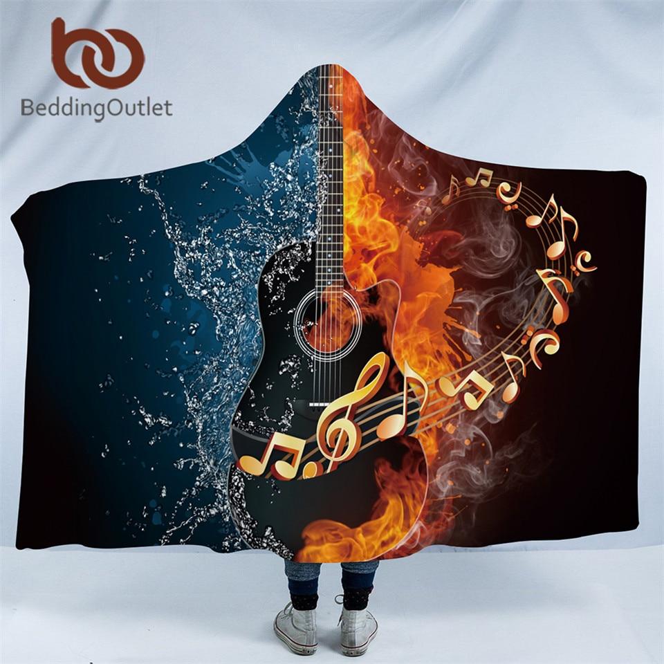 beddingoutlet fire and water hooded blanket 3d guitar sherpa fleece wearable blanket adults. Black Bedroom Furniture Sets. Home Design Ideas