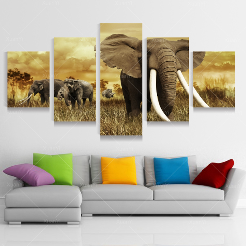 5 Panel Modern Printed African Elephant Picture Oil Painting Canvas Wall Art Cuadros Decoracion For Living Room Unframed