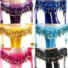 Обруча блесток монета хип живота шифон многоцветный шарф танец юбки пояс