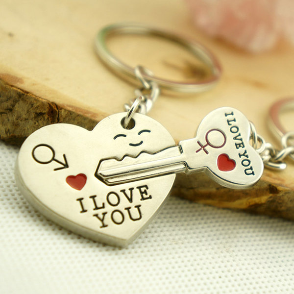 f0be0933d5 New Couple I LOVE YOU Heart Keychain Ring Keyring Key Chain Lover Romantic  Creative Birthday Gift 2 Parts/ set