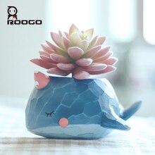 Roogo 꽃 냄비 재배자 식물 냄비 푸른 고래 annimal 즙이 많은 선인장 정원 냄비 실내 방 홈 장식 액세서리