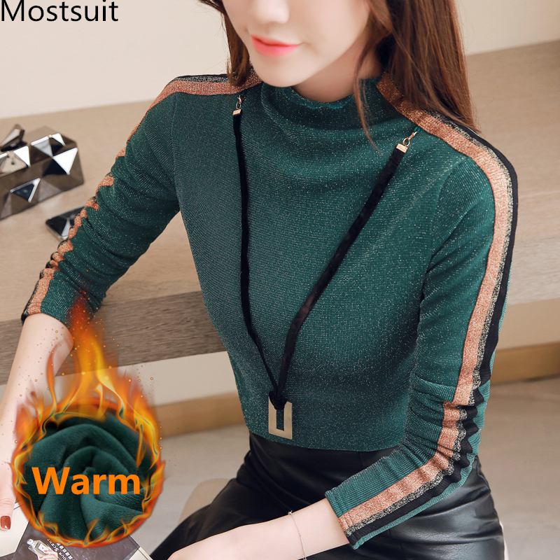 M 4xl Thicken Shiny Blusas Mujer With Necklace Women Long Sleeve Turtleneck Blouses Autumn Winter Warm Office Casual Shirt Tops