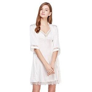 Image 2 - Fiklyc מותג נשים של שינה & טרקלין שני חתיכות robe & שמלת סטי סקסי חלול החוצה תחרה וסאטן נשי מיני כתנות לילה חלוק רחצה סט