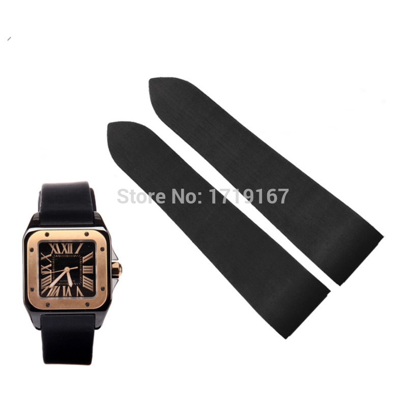 New 25mm Rubber Waterproof Watch Strap Band For Santos 100 watch repalce in Watchbands from Watches