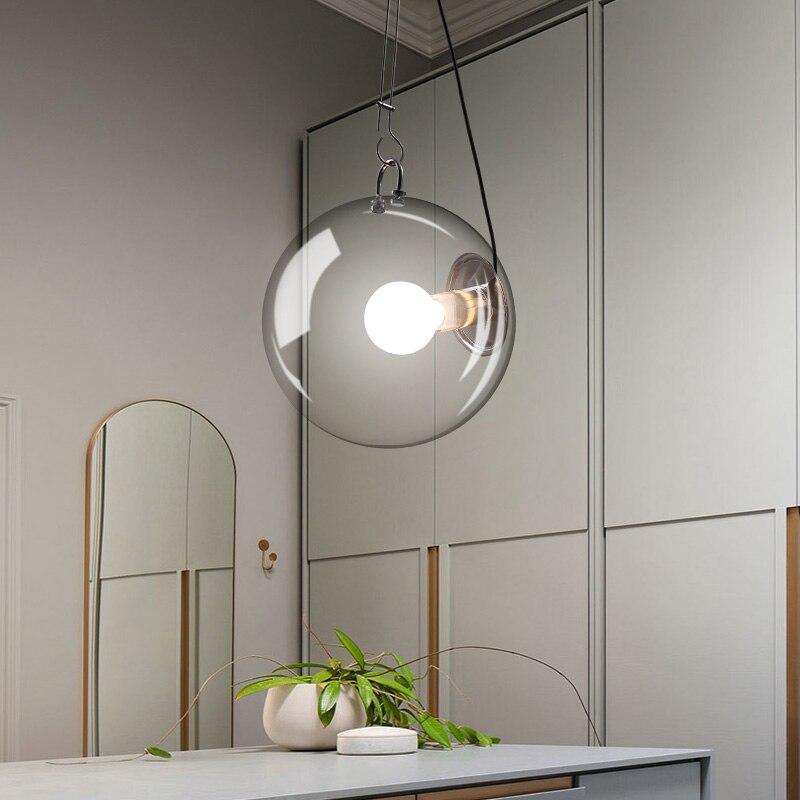 Современный стеклянный шар светодиодный люстра персонализированные спальни романтический ресторан подвесной светильник бар indoor огни люс...