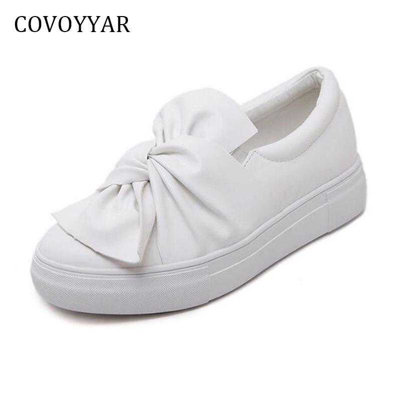 COVOYYAR 2018 Bow Decor Women's Shoes Spring Autumn Fashion Platform Ladies Flats Slip On Students White Shoes WFS799