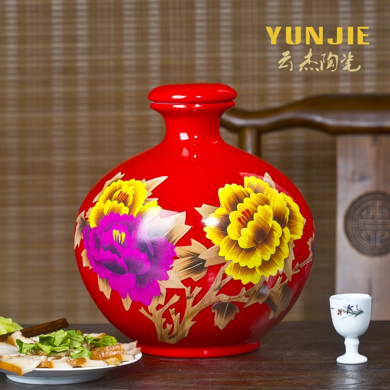 2.5KG Jingdezhen ceramic bottle wine jar sealed bottle wine jars liquor Dragon Bird map